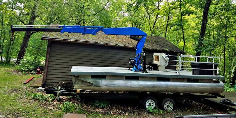 20 x 8-foot Pontoon Barge with Hiab 650 Crane